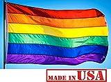 Cheap US Flag Factory 4'x6′ Rainbow Flag (Sewn Stripes) Outdoor SolarMax Nylon – Gay Pride Lesbian LGBT – Premium Quality – Made in America