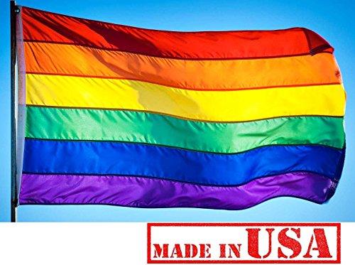 US Flag Factory 2x3 Rainbow Flag (Sewn Stripes) Outdoor SolarMax Nylon - Gay Pride Lesbian LGBT - Premium Quality - Made in America