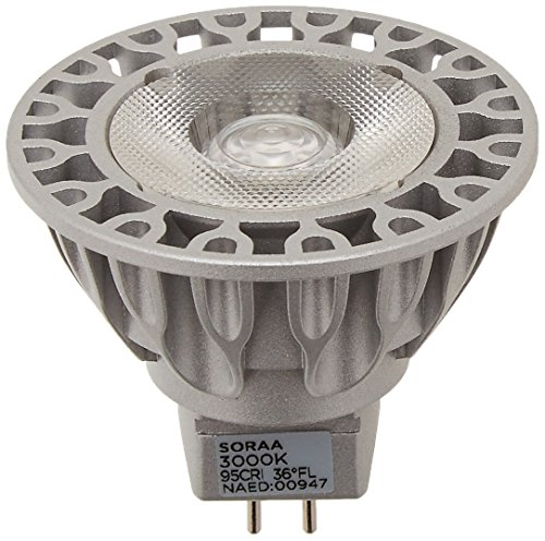 Bulbrite SM16-07-36D-930-03 SORAA 7.5W LED MR16 3000K VIVID3 36° Dimmable Light Bulb, Silver