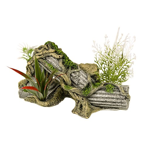 (Blue Ribbon PET Products EE-1017 Exotic Environments Ancient Column Ruins with Plants)