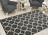 Sweet Home Stores Clifton Collection Moroccan Trellis Design Area Rug, 5' W x 7' L, Light Grey