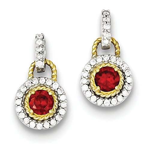 Diamond2Deal 925 Sterling Silver Vermeil Dark Red Cubic Zirconia Earrings Solitaire Vermeil Earrings