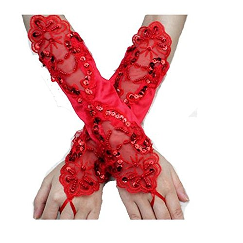 Fingerless Gauntlet - Taiycyxgan Satin Fingerless Gauntlet Style Beaded Gloves (Red) [Apparel]