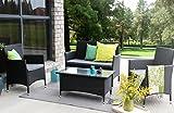 Baner Garden (N68) 4 Pieces Outdoor Furniture Complete Patio Wicker Rattan Garden Set, Black