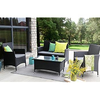 Outsunny 4 piece outdoor rattan wicker sofa for Sofa exterior amazon
