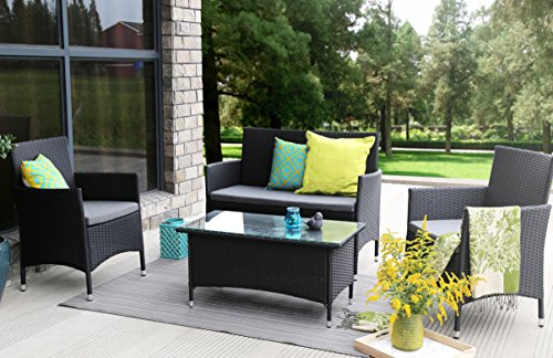 Baner Garden (N68) 4 Pieces Outdoor Furniture Complete Patio Wicker Rattan Garden Set, Full, Black (Modern Outdoor Furniture Overstock)