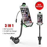 Car Mount, Ixt® HC27K Universal Car Smartphone Holder With 3.1 Amp USB Car Charger and FM transmitter for iPhone 6S Plus 6S 6 Plus 6 SE 5S 5C 5 4S 4, Samsung Galaxy S7 Edge S7 S6 Edge+ S6 Edge S5 S4 S3, Note 5 4 3 / Google Nexus 6 5 4, LG V10 G4 G3, HTC One M9 M8 M7, Motorola Droid, Nokia Lumia, Sony Xperia, Smartphones & GPS Devices