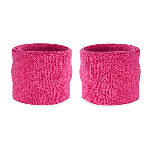 Suddora Kids Wrist Sweatbands - Athletic Cotton Terry Cloth Sports Wristbands for Kids (Pair) (Neon Pink) ()