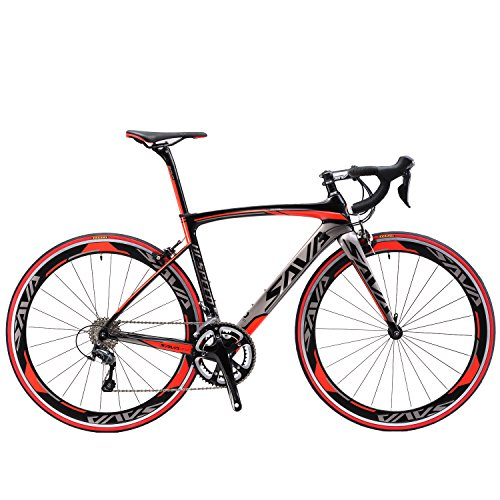 SAVADECK 700C Road Bike T800 Carbon Fiber 50CM Frame / Fork / Seat Post with SHIMANO 105 5800 22 Speed Derailleur System and KENDA 23C Tire Ultra-light 18.96lb(52cm/Red) SAVADECK