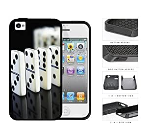 Trail Of Dominoes 2-Piece Dual Layer High Impact Rubber Silicone Cell Phone Case Apple iPhone 4 4s