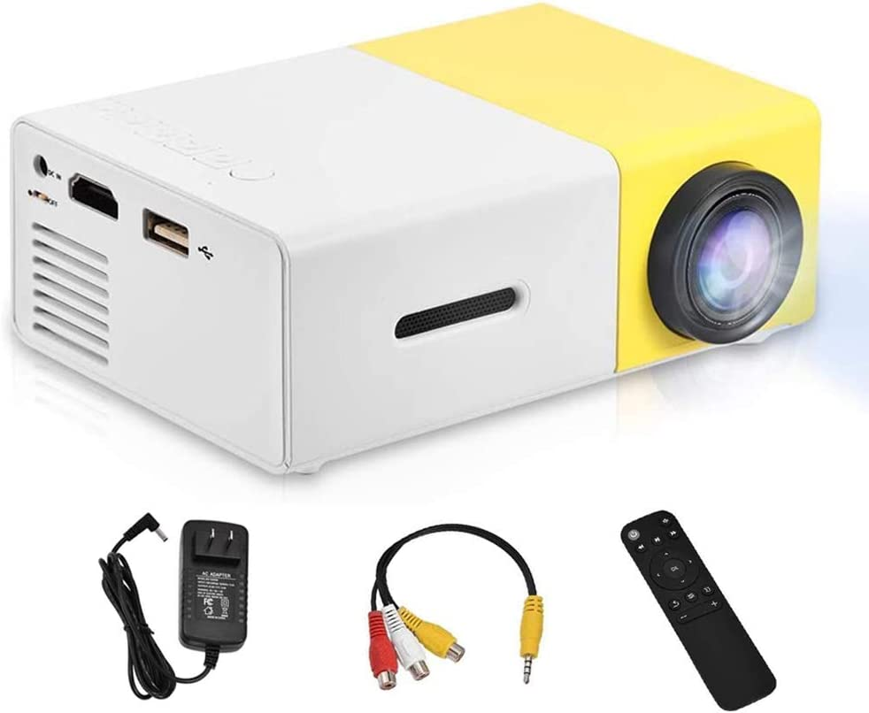 Vbestlife Mini Projector,Portable 1080P 600lm 4 : 3 LED Projector Home Cinema Theater Movie Support Laptop PC Smartphone HDMI Input,Great Gift Pocket Projector for Party Camping (Yellow&White)