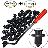 honda accord trim - StaiBC 40 Pieces 10mm Black Push-type Nylon Bumper Fastener Rivet Clips Automotive Furniture Assembly Expansion Screws Kit with One Plastic Fastener Remover for Honda Accord Civic