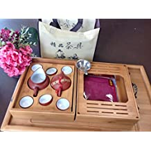 Yixing Tea Set Red N White with Travel Bamboo Tea Tray Set 10pcs Best Seller