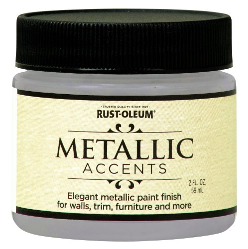 Rust-Oleum Metallic Accents 255338 Decorative 2-Ounce Trail Size Water Based One Part Metallic Finish Paint, White Pearl (Outdoor Pearl)