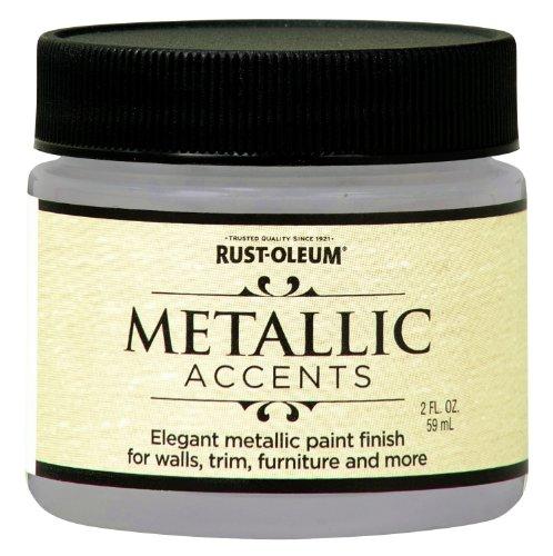 Rust-Oleum 255338 Metallic Accents Paint, 2 oz Trial Size, White - Interior Paint Metallic