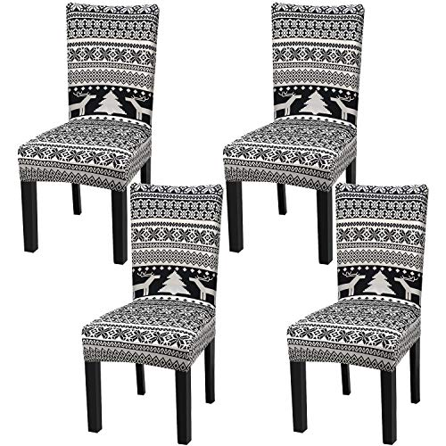 Fuloon Super Fit Stretch Removable Washable Short Christmas Dining Chair Protector Cover Seat Slipcover for Hotel,Dining Room,Ceremony,Banquet Wedding Party (4 Per Set, BW)