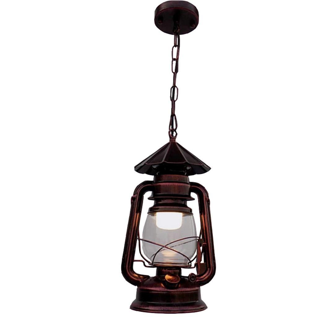 Retro Laterne Petroleumlampe dekorative Lampe, Lampenschirm aus Glas mit Regenschirm, Geeignet für Wohnzimmer, Bauernhof, Restaurant, Camping (Rote Bronze)