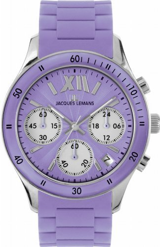 Jacques Lemans Women's 1-1587H Rome Sports Sport Analog Chronograph with Silicone Strap Watch