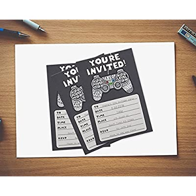 40-Pack Video Game Birthday Party Invitations with Envelopes, Kids & Boys Birthdays, Gaming Theme Party Supplies, 4 x 6