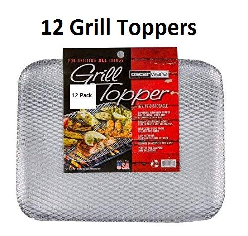 Oscarware Disposable Grill Topper, 16x12-Inch, Recyclable Aluminum (12 Pack) by Oscarware