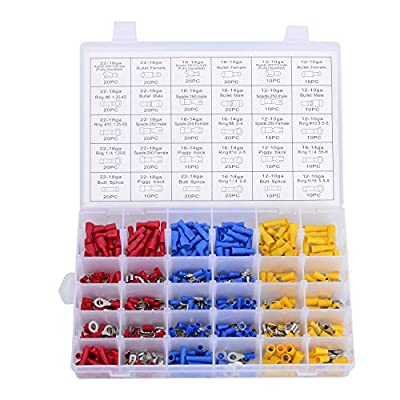 480PCS Electrical Wire Connectors Kit,Insulated Crimp Spade Butt Terminals Assortment Set