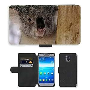 PU LEATHER case coque housse smartphone Flip bag Cover protection // M00112595 Oso de koala marsupial peludo gris // Samsung Galaxy S5 S V SV i9600 (Not Fits S5 ACTIVE)