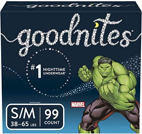 Goodnites Bedwetting Underwear for Boys, Small/Medium (38-65 lb.), 99 Ct, Stock Up Pack (Packaging May Vary)