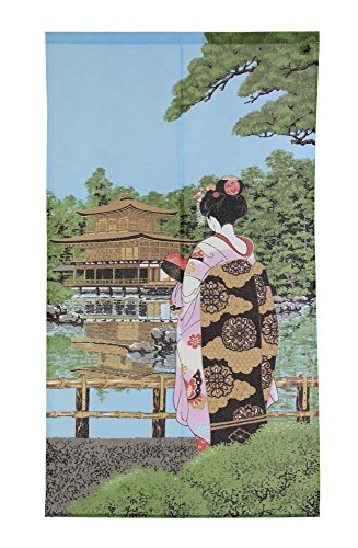 Made in Japan Noren Curtain Tapestry Maiko Kinkakuji