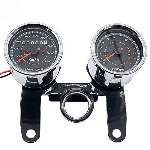 DEH Speedometer Combination 12V 0-180 Km/h LED Motorcycle Tours Tachometer Gauge - Black