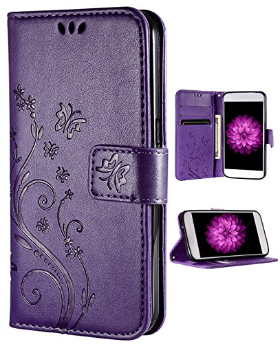 iPhone 8 Plus Case,iPhone 7 Plus Wallet Case, FLYEE Flip Case Wallet Leather [Kickstand] Emboss Butterfly Flower Folio Magnetic Protective Cover with Card Slots for iPhone8 Plus Flower-Puple