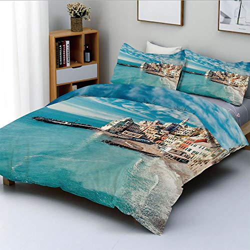 Duplex Print Duvet Cover Set Full Size,Panorama of Old Italian Fish Village Beach Old Province Coastal Charm ImageDecorative 3 Piece Bedding Set with 2 Pillow Sham,Turquoise,Best Gift For Kids & Adult