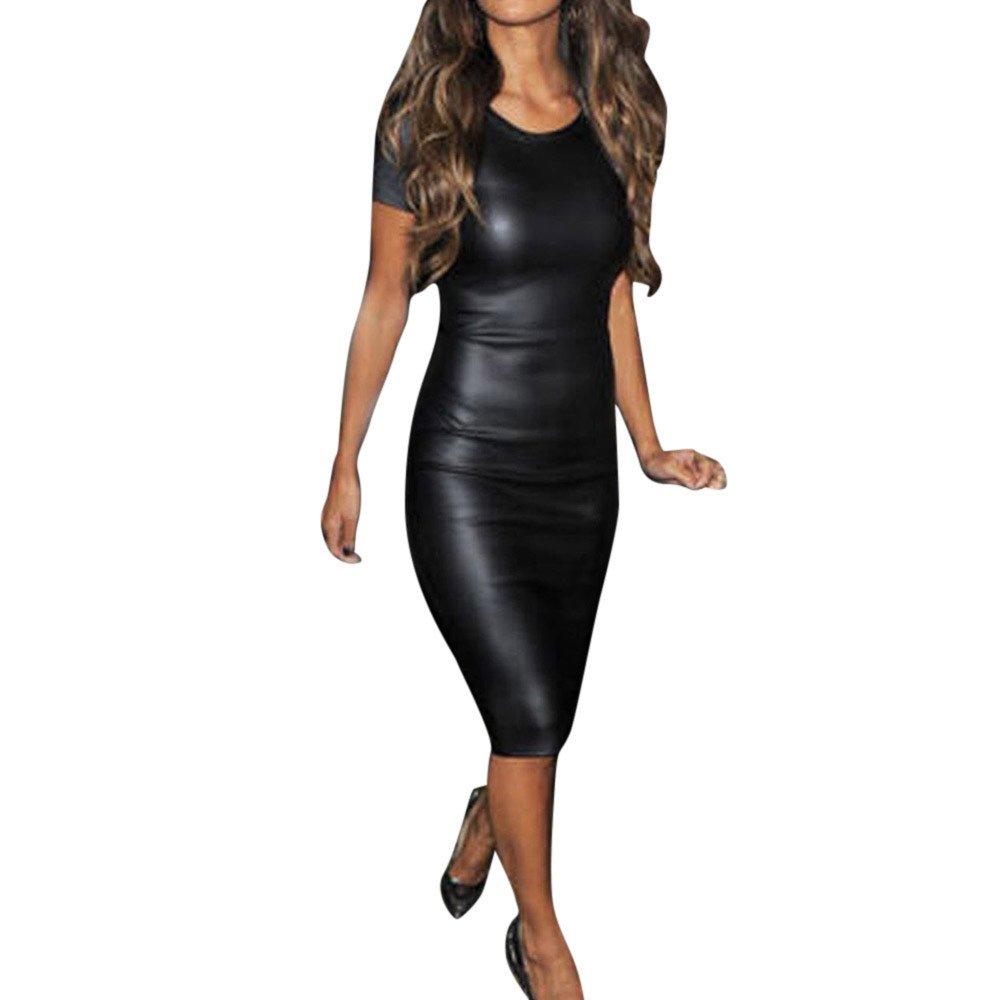 Women's Sexy V Neck Sleeveless Wrap Leather Bodycon Pencil Party Bandage Dresses (S, E)