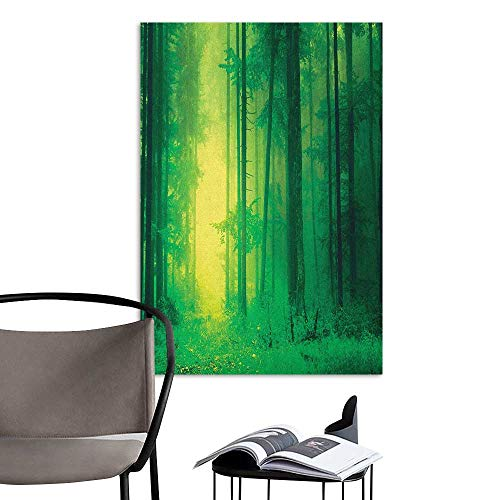 Wall Mural Wallpaper Stickers Mystic Fantasy Springtime Forest Tall Trees with Magical Fairytale Twilight Art Print Print Green Warm and Romantic W32 x H48 ()