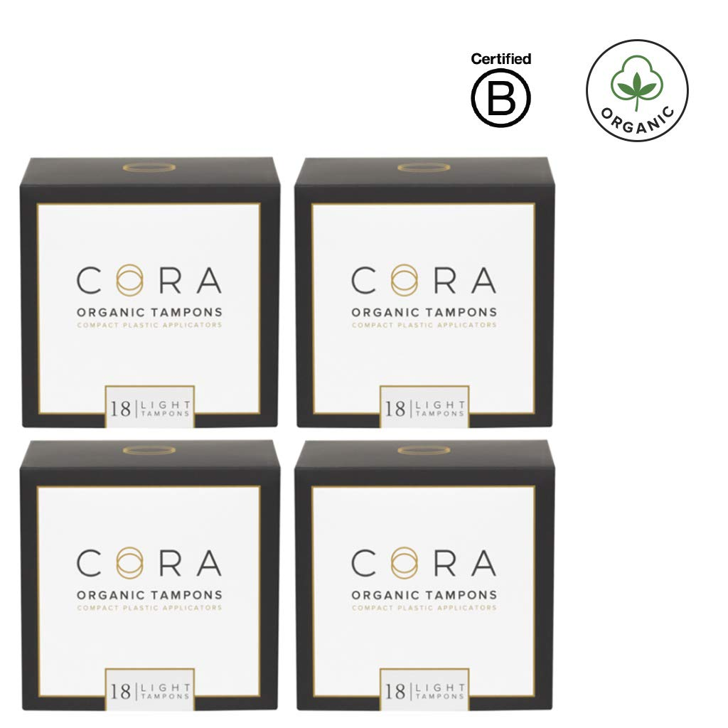 Cora Organic Cotton Tampons with BPA-Free Plastic Compact Applicator; Chlorine & Toxin Free - Light (72 Count) (Packaging May Vary) by Cora