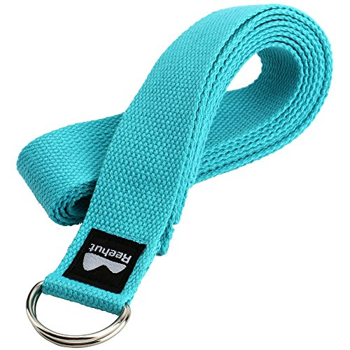 Reehut Fitness Exercise Yoga Strap (8ft) w/ Adjustable D-Ring Buckle for Stretching, Flexibility and Physical Therapy (Sky Blue)