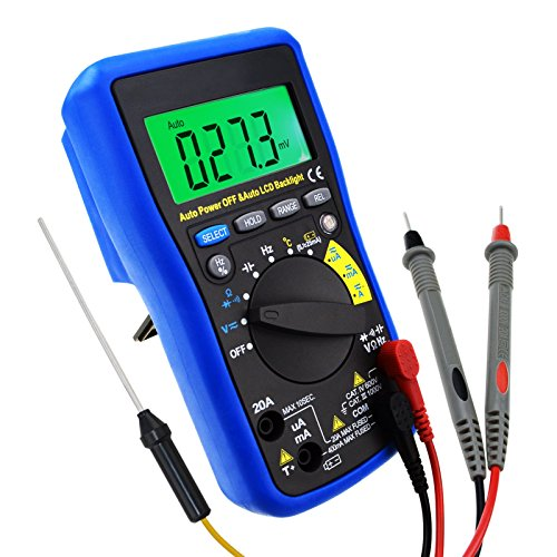 Digital Auto-ranging DMM Multimeter - DC AC Amp Volt Ohm Frequency Capaitance Temperature Meter Battery Tester, with Auto LCD Backlight, Overload Protection by Gain Express