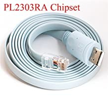 Prolific PL2303RA USB RS232 to RJ45 Console Cable for Cisco H3C HP Arba Huawei Fortinet Routers 6ft
