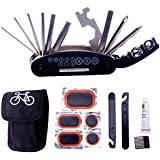 DAWAY Bike Repair Tool Kits - 16 in 1 Multifunction Bicycle Mechanic Fix Tools Set Bag with Tire Patch Levers