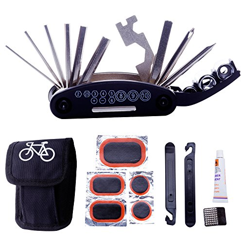 DAWAY A32 Bike Repair Tool Kits - 16 in 1 Multifunction Bicycle Mechanic Fix Tools Set Bag with Tire Patch Levers & Glue
