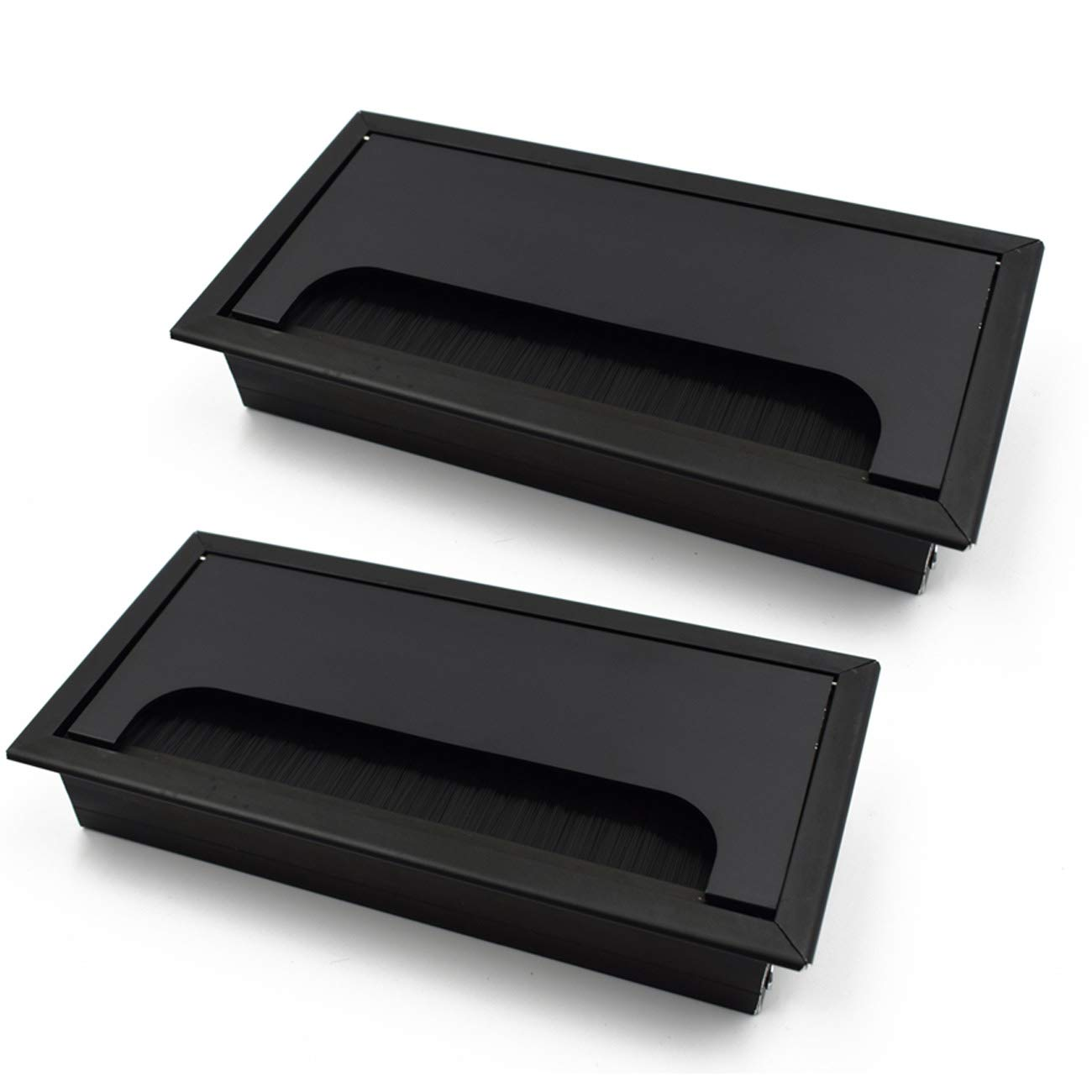 LICTOP Black 160mm Metal Rectangle Wire Cable Grommet Hole Cover for Computer Desk Table(2Pcs) by LICTOP