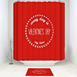 EZON-CH Waterproof Modern Good Mildew Resistance Every Day Is Valentine's Day Polyester Farbic Bathroom Shower Set Shower Curatin With Doormat Rugs(Shower Curtain36x72in)