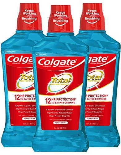 Colgate Total Pro-Shield Alcohol Free Mouthwash, Peppermint - 1L, 33.8 fluid ounce (3 Pack)