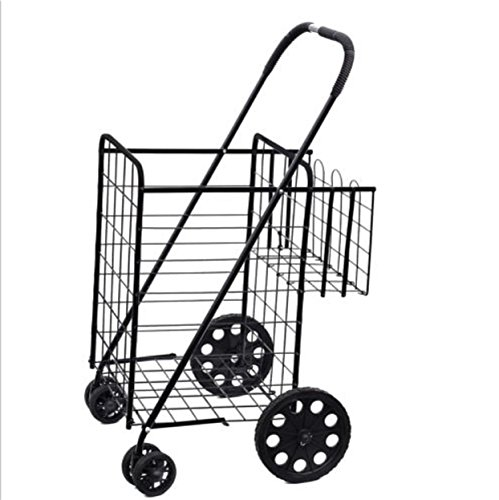 Folding Cart Shopping Wheels Rolling Luggage Compact Jumbo Size Basket For Laundry Grocery Travel