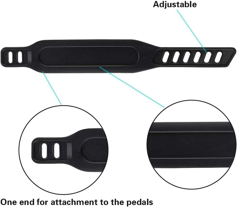 Exercise Bike Pedal Straps Universal Long Pedal Strap Adjustable Exercise Bike Rubber Pedal Straps for Stationary Bikes Fits Most Exercise Bike Pedals