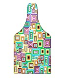 Lunarable Geometric Cutting Board, Rectangle Stroke in Different Colors and Sizes Picture Frames Ornaments Print, Decorative Tempered Glass Cutting and Serving Board, Wine Bottle Shape, Multicolor