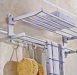 New Alumimum Double Wall Mounted Towel Rack Holder Hook Hanger Bar Shelf Rail Storage Bathroom Hotel Silver