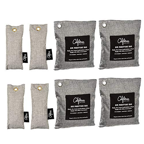 Bamboo Odor Eliminator Bags (8 Pack), Bamboo Charcoal Air Purifying Bag, Natural Air Fresheners & Odor Eliminators, Closet Dehumidifier, Car Air Purifier, Gym Bag Deodorizer, Shoe Odor Eliminator ()