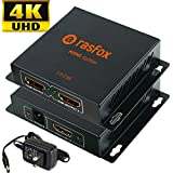 Rasfox 1x2 Powered 4K HDMI Splitter,1 in 2 out, Repeater Amplifier Box Hub with Power Adapter,4K UHD Full HD 3D 1080p ; Distribute 1 Souce to 2 HDTVs; High-end Metal Box with 1 Year Warranty