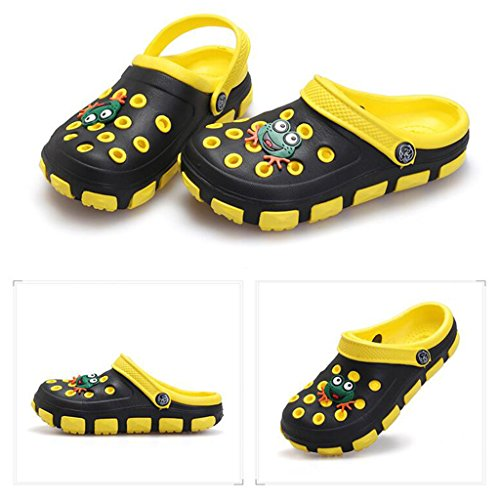 hibote Verano Niños EVA sandalias de playa Kids Chicas Boys Shoes Antideslizante Sandalias Infantil Kids Children Dibujos animados Linda Zapatos Negro+Amarillo