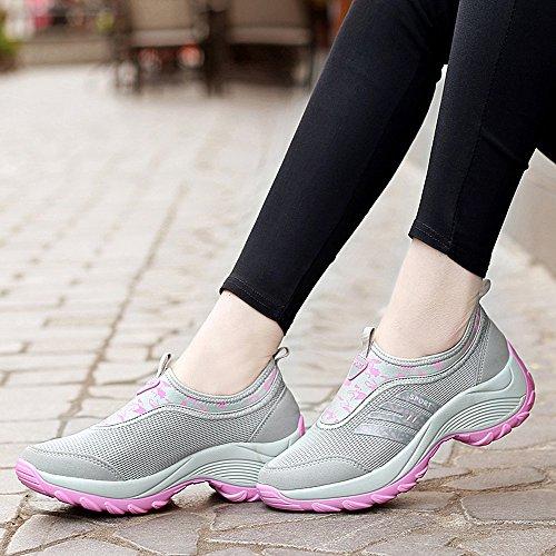 Enllerviid Mujeres Slip On Wedges Plataforma Toning Zapatos Moda Floral Impreso Fitness Zapatos Para Caminar 1513 Gris